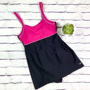 Speedo Black & Pink One Piece w/ Skirt Swimsuit 14